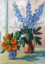 James Everett Kessell (British, 1915-1978) 'Still Life; Delphiniums and Marigolds'