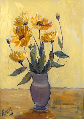 James Everett Kessell (British, 1915-1978) 'Still Life; Delphiniums and Marigolds'