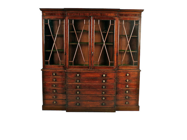 An early 19th century mahogany breakfront bookcase