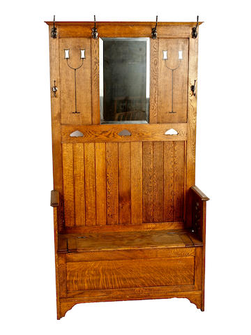 Oak Arts & Crafts style hall stand