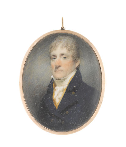 John Wright (British, circa 1745-1820) A Gentleman, wearing blue double-breasted coat, yellow waistcoat, white frilled chemise, stock and tied cravat, his hair worn short
