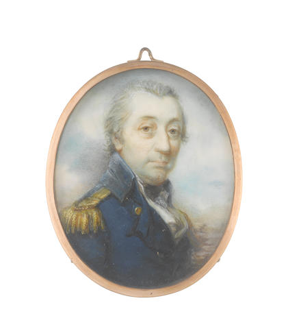 William Grimaldi (British, 1751-1830) A portrait of Vice-Admiral Sir William Fairfax, Bt (1739-1813), wearing dark blue coat with gold epaulettes, white waistcoat and lace cravat, black stock, his hair powdered