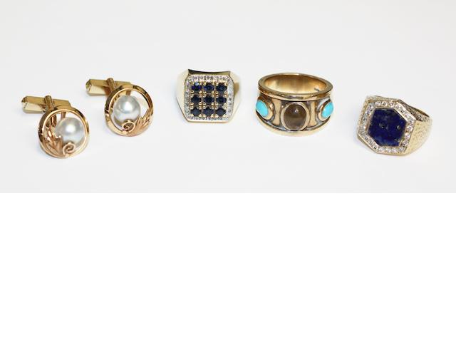2 x 18ct gents rings; 9ct stone set ring; pair 14k pearl cufflinks