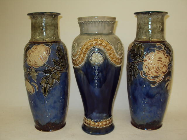 A pair of Maud Bowden for Royal Doulton vases and a further Royal Doulton vase
