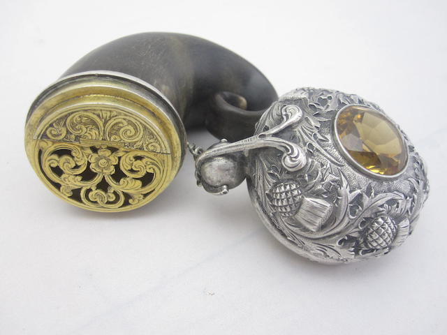 A 19th century silver mounted horn vinaigrette stamped MS & Co
