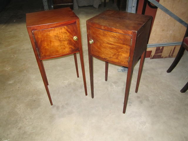A matched pair of George III pot cupboards