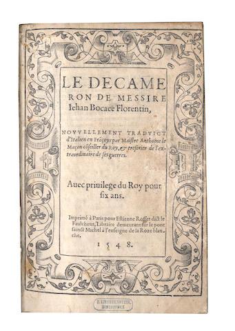 BOCCACCIO (GIOVANNI) Le Decameron... nouvellement traduict d'Italien en Fra[n]coys par Maistre Anthoine le Macon, 1548