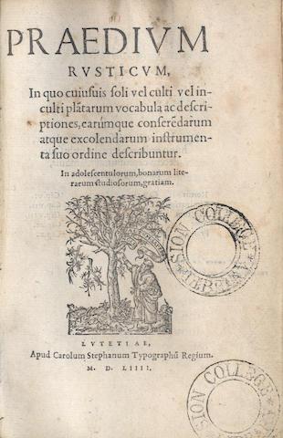 STEPHANUS (CAROLUS)] Praedium rusticum, 1554