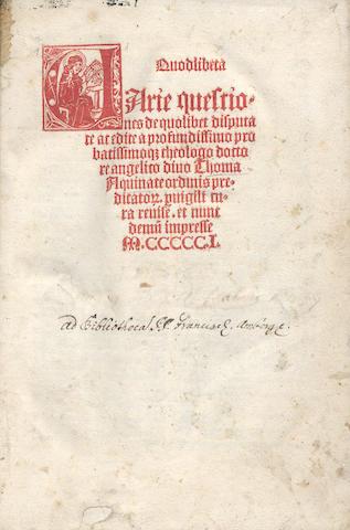 THOMAS AQUINAS, Saint Quodlibeta, 1501