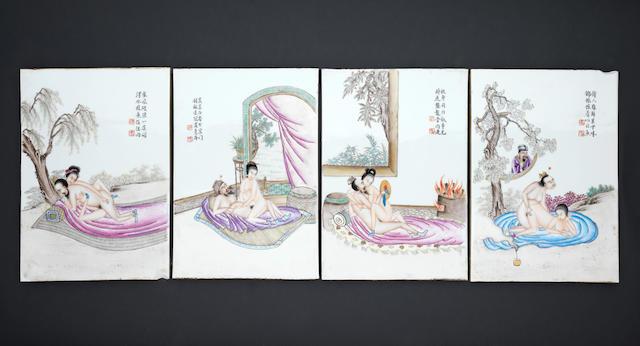 Four famille rose, erotic plaques