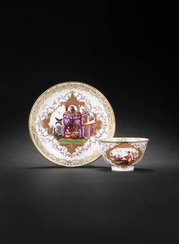 A Meissen teabowl and saucer circa 1726