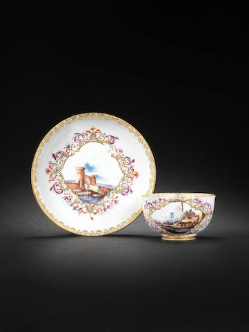A Meissen teabowl and saucer circa 1735