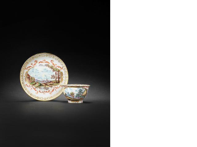 A Meissen teabowl and saucer circa 1724