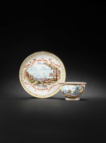 A Meissen teabowl and saucer, circa 1724