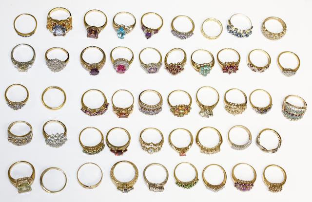 A large collection of modern variously set rings