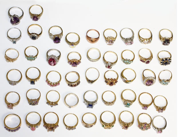 A large collection modern variously set rings,
