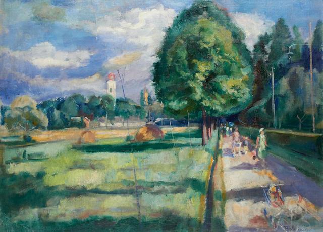 István Boldizsár (Hungarian, 1897-1984) Landscape at Nagybanya