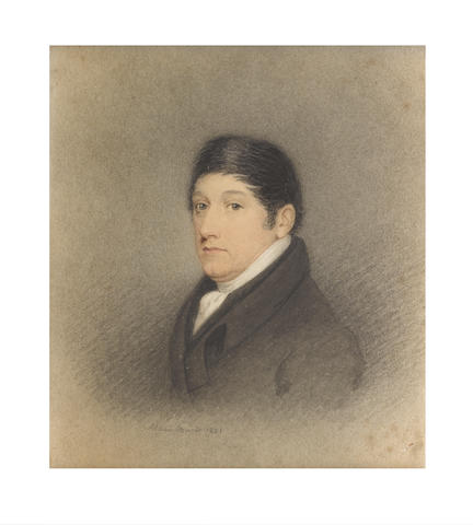 Adam Buck (Irish, 1759-1833) A Gentleman, wearing black coat, white stock and cravat, his dark hair parted to one side