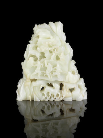 A rare white jade 'lion hunt' boulder 19th/20th century