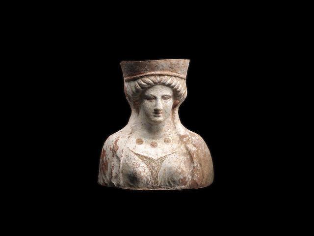 Canosan polychrome bust, 7 7/8in (19.8cm)