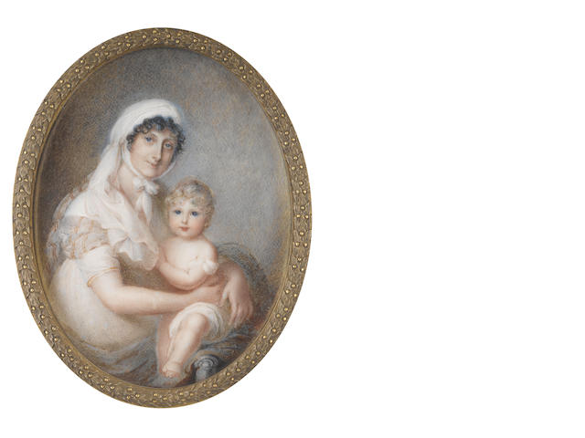 Mrs. Anne Mee  (British, circa 1770-1851) A Mother and Child, seated; the former, wearing blue dress with red stripes and matching stole, white fichu, her dark hair upswept beneath a white linen mob cap; the latter, swaddled in a white linen cloth