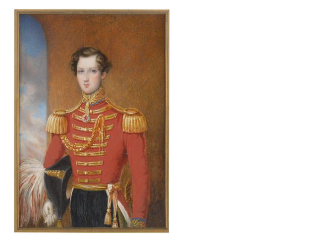 James Warren Childe (British, 1778-1862), circa 1842 Sir William Henry Don, 7th Baronet (1825–1862) of the 5th Dragoon Guards (Princess Charlotte of Wales's), wearing red coat with gold facings and epaulettes, badge of the 5th Dragoon Guards suspended from his blue and gold standing collar, gold sash, sword and scabbard, a red and white plumed black bicorn hat tucked beneath his right arm, his right hand encased in a white glove, its pair between his fingers