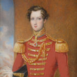 English School, circa 1842 Sir William Henry Don, 7th Baronet (1825–1862) of the 5th Dragoon Guards (Princess Charlotte of Wales's), wearing red coat with gold facings and epaulettes, a British military decoration suspended from his blue and gold standing collar, gold sash, sword and scabbard, a red and white plumed black bicorn hat tucked beneath his right arm, a white glove on his right hand, its pair between his fingers