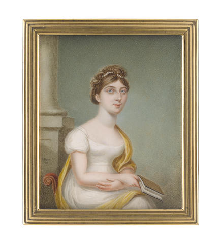 Sampson Towgood Roch(e) (Irish, 1759-1847) A Lady, seated on a red upholstered chair, wearing white décolleté dress with capped sleeves, a canary yellow stole draped about her, her hair upswept and dressed with pearls, she holds a book in her right hand