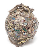 A silver and cloisonné enamel egg-shaped koro (incense burner) and cover Probably made for the Ozeki Company, circa 1900