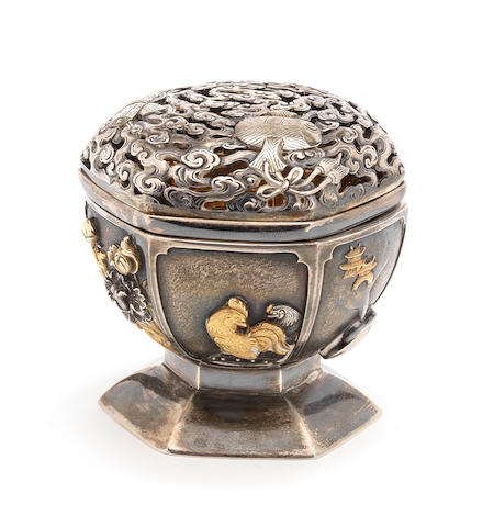An inlaid silver small vessel and cover By Tadayoshi and Yukihiro, Meiji Period