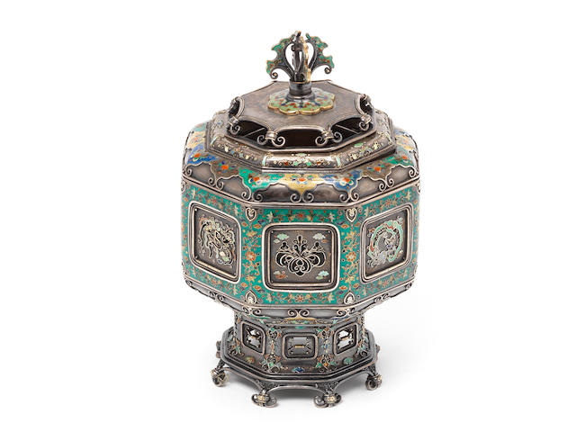 A shibuichi, silver filigree and cloisonné enamel octagonal koro (incense burner) and cover By Hiratsuka Mohei (born c.1836), Meiji Period