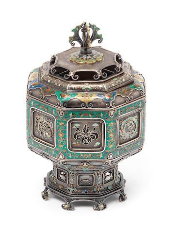 A shibuichi, silver filigree and cloisonné enamel octagonal koro (incense burner) and cover By Hiratsuka Mohei (born c.1836), Meiji Period