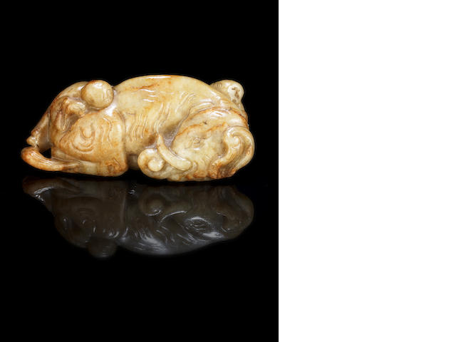 A russet jade, 'elephant and boys' group Ming Dynasty