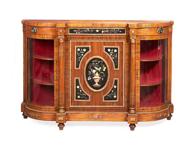 A French late 19th century gilt metal, hardstone and marble mounted tulipwood credenza