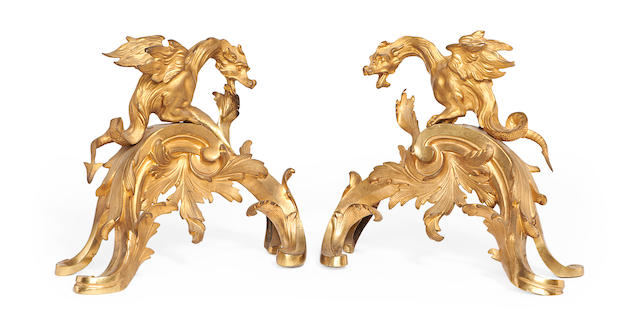 A pair of 19th century Louis XV Style gilt bronze chenets