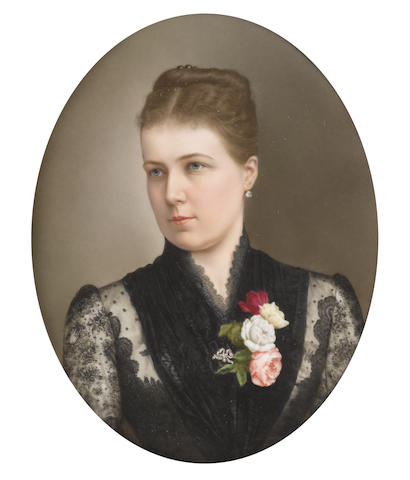 Continental School, circa 1880 Princess Beatrice Mary Victoria Feodore; later Princess Henry of Battenberg (1857–1944), wearing black dress with lace to her sleeves and décolleté, black lace fichu pinned with a spray of pink, white and yellow roses, a silver and pearl ribbon brooch, diamond pendant earring, her dark hair coiled and upswept