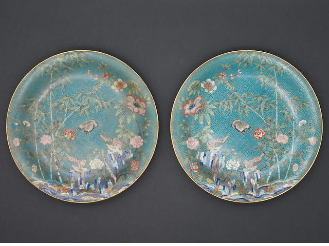 A pair of cloisonné dishes possibly 19th century, De Cheng marks