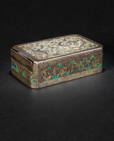 A repuossé, enamelled silver box