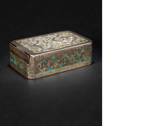 An enamelled silver box