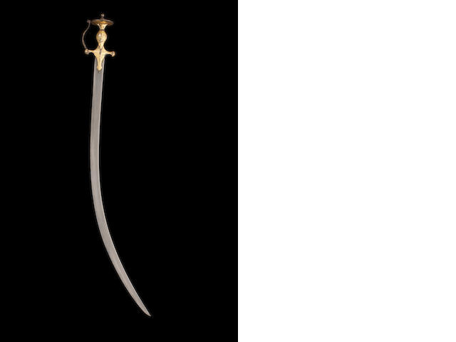 A Sikh tulwar with inscription (with wootz blade)