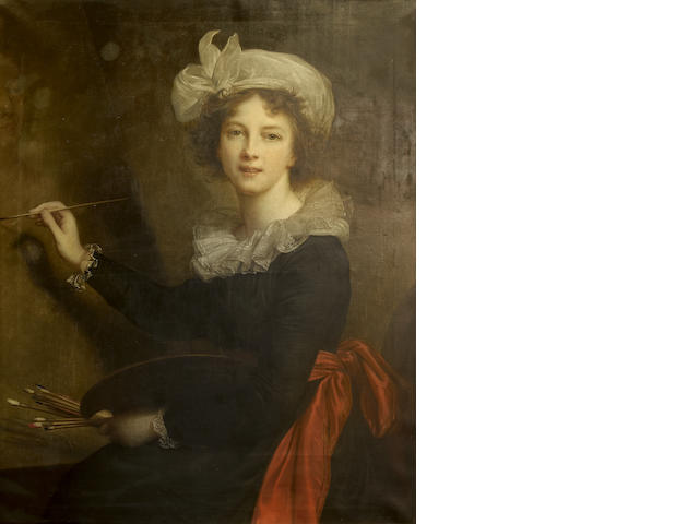 Angelo Mambriani (Italian, 1877-1968) Portrait of Élisabeth Louise Vigée-Lebrun at her easel