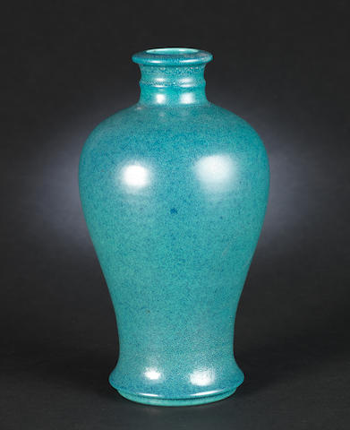 A robin's egg-glazed vase, Qianlong mark, box