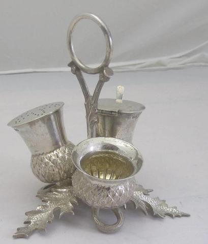 A silver cruet in the form of a thistle by Thomas Bradbury & Sons, Ltd, Sheffield 1925