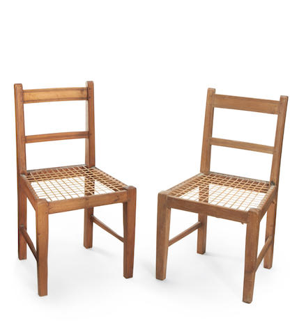 Two Cape West Coast Chairs, 19th Century Sandveld Chair with riempie seat from West Coast, Cape, a pair 84.5 x 45.5cm (33 1/4 x 17 15/16in),(2).