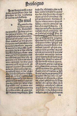 PROSPER AQUITANUS De Vita contemplativa. De Vita actuali, Speyer, 1487