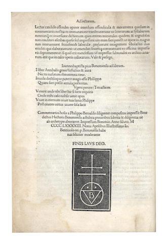 SUETONIUS TRANQUILLUS (GAIUS) Vitae XII Caesarum [commentary and additions by Philippus Beroaldus], Bologna, 1493