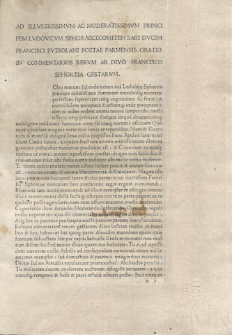 SIMONETA (JOHANNES) Commentarii rerum gestarum Francisci Sfortiae [edited by Franciscus Puteolanus], Milan, between 1481 and 1482