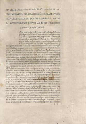 SIMONETA (JOHANNES) Commentarii rerum gestarum Francisci Sfortiae [edited by Franciscus Puteolanus], Milan, between 1481 and 1482