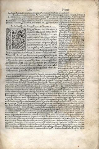 QUINTILIANUS (MARCUS FABIUS) Institutiones oratoriae [with commentary by Raphael Regius], 1493