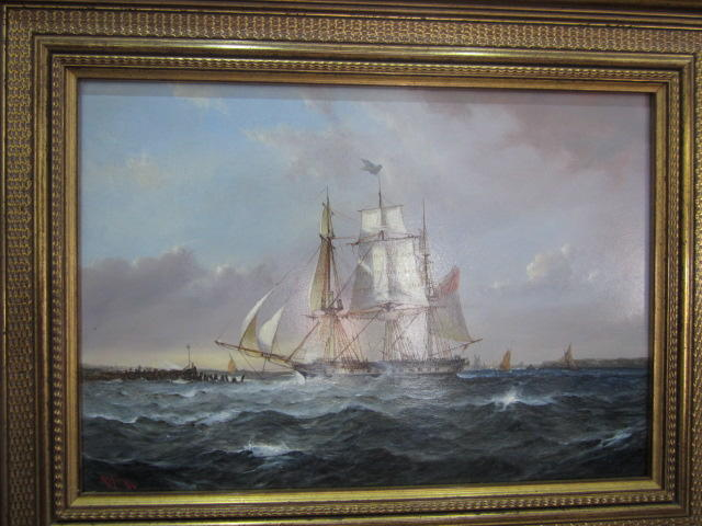 Robert Moore (British, born 1945) The Falcon, Lord Yarborough's Yacht, launched 1824, constructed by list at Wootton Bridge, IOW